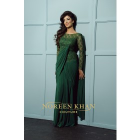 Stunning Green One Piece Sari Dress