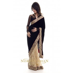 Timeless Black Velvet and Lace Sari
